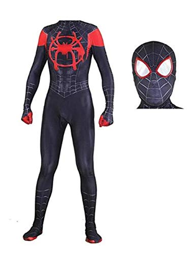 Wandado Lycra Spandex Halloween New into The Spider Verse Miles Morales Cosplay Costumes Adult/Kids (Kids-M(Height 120-130cm), Black) -