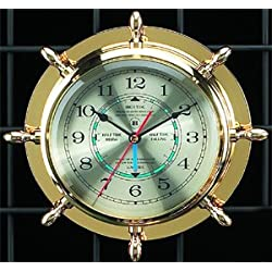 Bey-Berk International Brass Ships Wheel Tide/Time Clock - Tarnish Proof