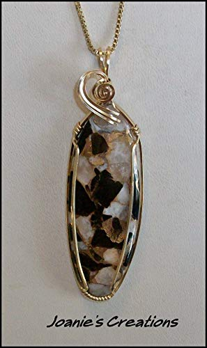 Obsidian, Calcite and Bronze Pendant in 14kt Gold Filled Wire