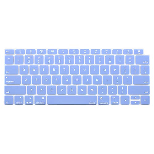 MOSISO Keyboard Cover Compatible Newest MacBook Air 13 Inch 2018 Release A1932 with Retina Display & Touch ID, Waterproof Dust-Proof Protective Silicone Skin, Serenity Blue