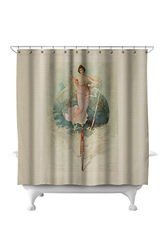 Warwick Cycle Vintage Poster USA c. 1896 (71x74 Polyester Shower Curtain) (Warwick Polyester Shower Curtain)