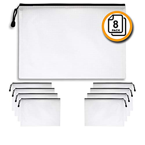 Document Holder Black 8-Pack, Black - Large Stylish Multipurpose Organizer Folder for School Supplies, Business Papers, Files and More - Clear Mesh Weatherproof Protection Storage Sheet