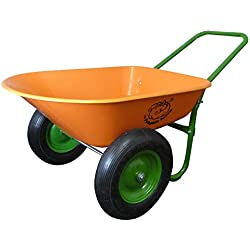 Dual-Wheel Residential Yard Rover Wheelbarrow - Pumpkin - 5 Cubic Foot Poly Tray with Flat Free Tires