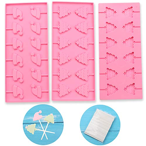 BAKER DEPOT Silicone Mold For Lollipop Chocolate Candy Biscuit Dessret Pastry Baking Tool 12 Holes Christmas trees and Christmas hat Shape Set Of 3 With Stick