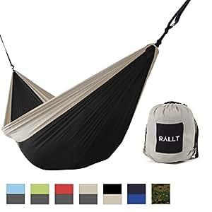 Rallt Single Camping Hammock - Ripstop Parachute Nylon - Lightweight Camping Wilderness Survival Gear - Black/Khaki
