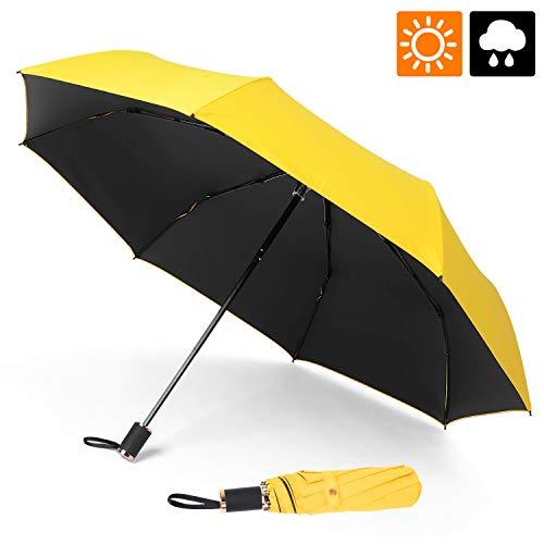 ESEOE Umbrella, Sun Umbrella UV Protection Outdoor Waterproof Umbrella, Compact Folding Umbrella for Travel, Sun & Rain Umbrellas with Black Anti-UV Coating (Yellow)