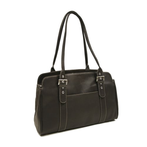 Piel Leather Ladies Buckle Laptop Tote, Chocolate, One (Laptop Tote Chocolate)