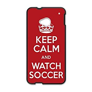 Happy Keep Calm And Watch Soccer Fahionable And Popular Back Case Cover For HTC One M7