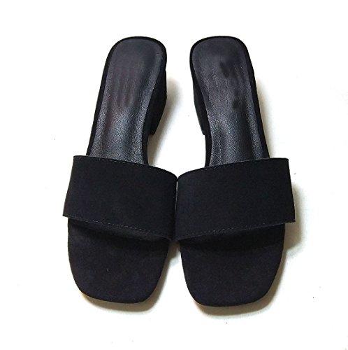 Women Lihuamao Suede Open Fashion Slip Black Kitten Sandals For Slide Toe Leather Pumps Mule On Shoes Heel Lady rIgrf