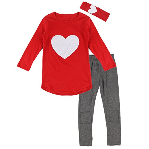 Toddler Heart - Toddler Baby Girls Heart Long Sleeve Shirt Leggings Pant & Headband Outfits Set (4T, Red)