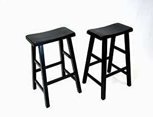 eHemco 29  Heavy Duty Saddle Seat Bar Stool in Antique Black Set of 2  sc 1 st  Amazon.com & Amazon.com: eHemco 29
