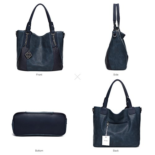 Pu Blue Capacity Shoulder Hobo Handbags Large Totes Leather Womens Z8dzSwqcZ
