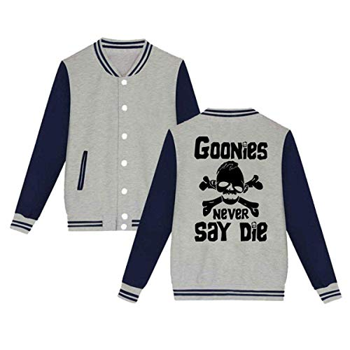 Goonies Never Say Die Mens & Womens Vintage Hoodie Baseball Uniform Jacket Sport Coat Gray