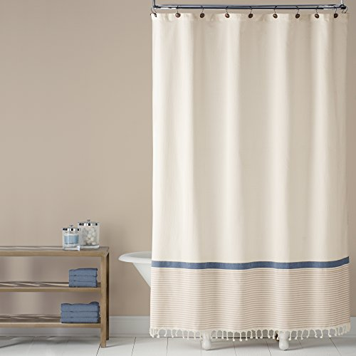 Saturday Knight Fringe Border Shower Curtain, Blue (Shower Tassel Curtain)