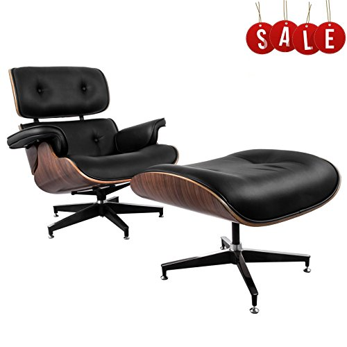 VEVOR Classic Eames Style Lounge Chair & Ottoman High Density Foam Cushions & Seamless Visible Corners Eames Lounge Chair Replica Walnut Veneer 7 Layer Molded Plywood Frame (Black) - Eames Lounge Chair