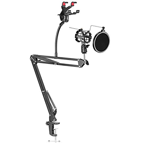 Neewer Adjustable Recording Microphone Suspension Boom Scissor Arm Stand with Mic Round Shape Wind Pop Filter Mask Shield, Shock Mount and Phone Holder, black ()