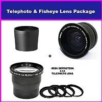 3.5X HD Professional Telephoto lens & 0.35x HD Super Wide Angle Panoramic Macro Fisheye Lens For Kodak Easyshare P880