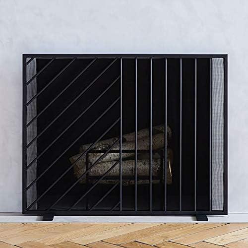 暖炉スクリーン MYL ブラックフラットガード現代の暖炉スクリーン、金属メッシュ、自立スパークガード装飾ソリッド鍛鉄フレーム、96×20×76センチメートル (Color : Black, Size : 96×20×76cm)