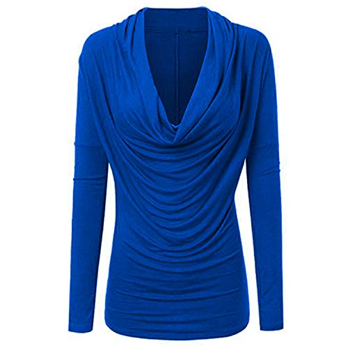 ♥ Malbaba Women's Solid Color Plus Size Long Sleeve Cowl Neck Autumn Winter T Shirt Outwear Tops (2XL, Blue)
