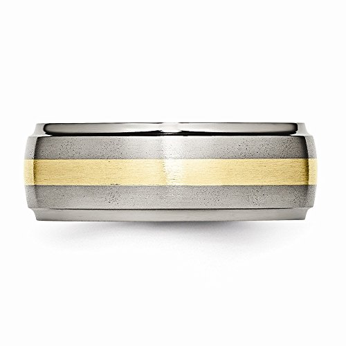 ICE CARATS Titanium Ridged Edge 14k Yellow Inlay 8mm Brushed/ Wedding Ring Band Size 8.50 Precious Metal Fine Jewelry Gift Set For Women Heart by ICE CARATS (Image #6)