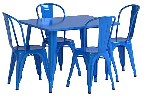 Flash Furniture 31.5'' Square Blue Metal Indoor-Outdoor Table Set with 4 Stack Chairs by Flash Furniture (Image #5)