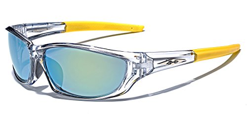 X-Loop Men's Frosted Clear Frame Colorful Wrap Around Baseball Cycling Running Sports ()