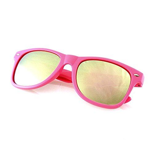 Emblem Eyewear - Trendy Sunglasses Vintage Mirror Lens New Men Women Fashion Frame Retro Cool (Mirrored Lens | Pink, - Sunglasses Cool New