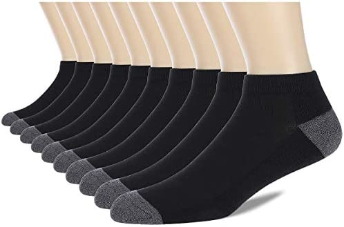 COOVAN 10 Pairs Mens Cushion Ankle Socks Men 10 Pack Low Cut Comfort Breathable Casual Socks
