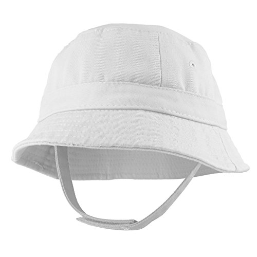 (Trendy Apparel Shop Infant Baby's 100% Cotton Bucket Hat with Adjustable Chin Strap - White)