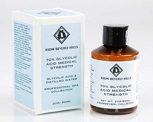 ASDM Beverly Hills Medical Grade Glycolic Acid Peel 70% 2 Ounce 60 Milliliter PRO Strength AHA Chemical Peel Treatment, Alpha Hydroxy For Acne Scars,Wrinkles, Blackheads,Pores, Discoloration, Aging Skin (Best At Home Chemical Peel For Aging Skin)
