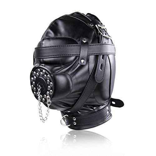 Raycity Black Leather Costume Gimp Mask Hood Style 14 by Raycity