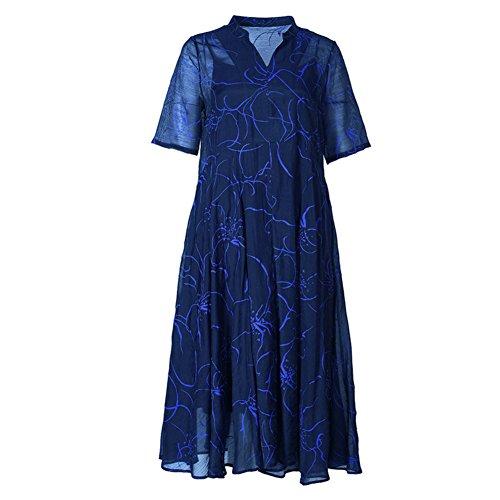 V Women's Maxi Short Dresses cotyledon Sleeve High Dress Neck Silk Waist Printed q7wdwxAHt
