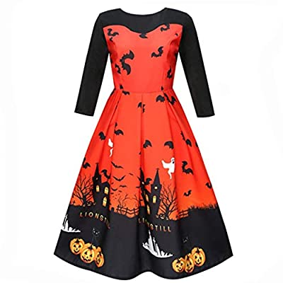 GREFER Women Halloween Costume Printing Three Quarter Casual Evening Party Prom Swing Dress