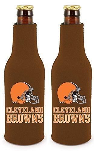 NFL Football 2014 Team Color Logo Bottle Suit Holder Cooler 2-Pack (Cleveland Browns)