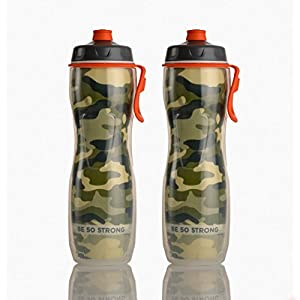 50 Strong Insulated Water Bottle (2-Pack) (Green Camo, Pull Top)