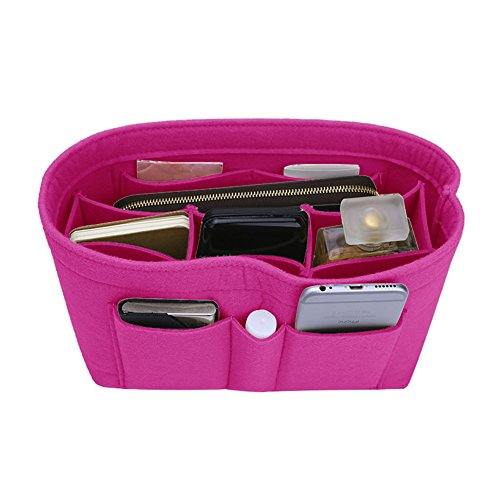 - Felt Insert Bag Organizer Bag In Bag For Handbag Purse Organizer, 13 Colors, 3 Size (Slender Large, Rose)
