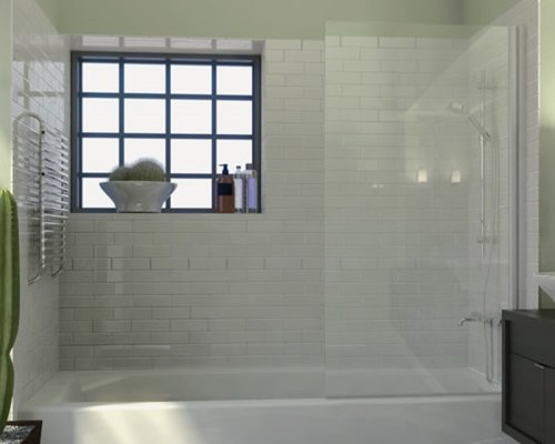 meless Bathtub Shower Screen, Pivot Door, 70 X 33.5, 5/16 (8mm) Glass With Round Top Corner, White Hinge. Model 7008WPR ()