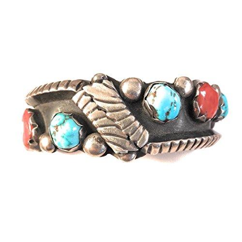 - Nizhoni Traders LLC Vintage Turquoise,Coral Sterling Silver Navajo Cuff Bracelet