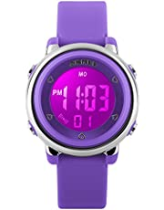 Kids Digital Sports Watches - Girls 5 ATM Waterproof Sport Watch with Alarm Stopwatch, Wrist Watches with 7 LED Backlight for Children