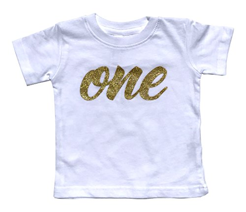 how-z-it Baby Girls First Birthday T Shirt Sparkly Gold Glitter One (12M, White)