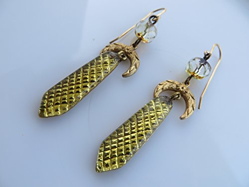Handmade Vintage Reflector Dangle and Brass earrings