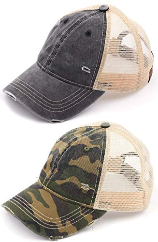 H-6140-2-912-063384 Trucker Hat 2-Pack: Black & Camo Green WASHED]()