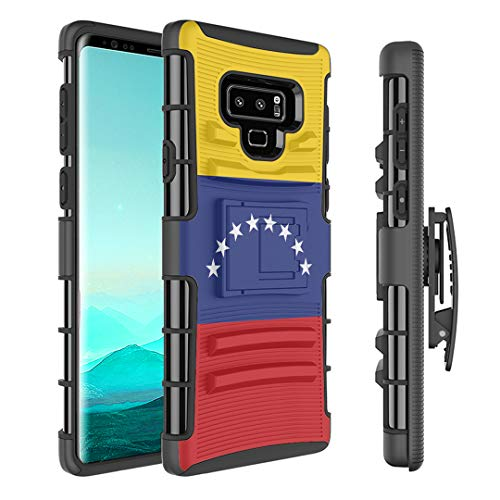 (Capsule Case Compatible with Samsung Galaxy Note 9 (2018) [Kickstand Holster Combo Heavy Duty Protection Case Black] - (Venezuela Flag))