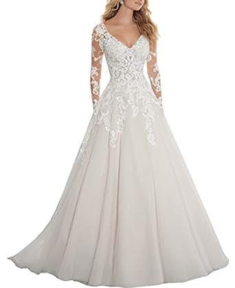 Ezotion Women's V Neck Lace A Line Wedding Dress with Long