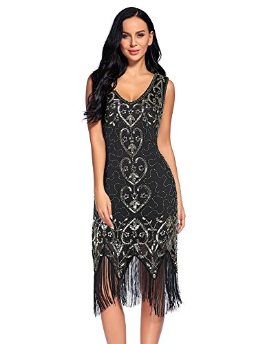 Plus Size Costumes Dresses (Flapper Girl 1920s Dress Gastby Sequin Embellished Fringed Flapper Dress (XXL, Black))
