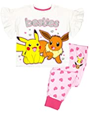 Vanilla Underground Pokemon Besties Pikachu Eevee Girl's Pink White Short Sleeve Long Leg Pyjamas