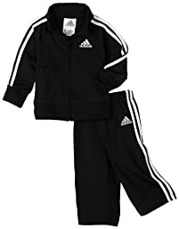 adidas Baby Boys\' Iconic Tricot Jacket and Pant Set, Black/White, 3 Months