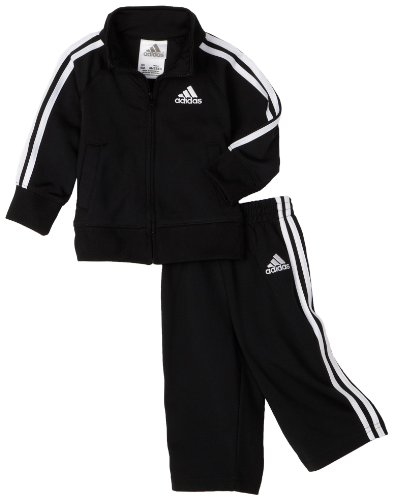 Adidas Baby Boys' Iconic Tricot Jacket and Pant Set, Black/White, 24 Months