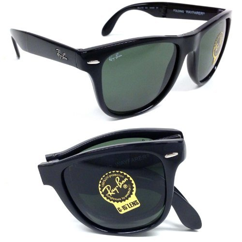 Ray Ban RB4105 601 Folding Wayfarer Black/ Crystal Green 50mm - Folding 4105 Ray Ban Wayfarer
