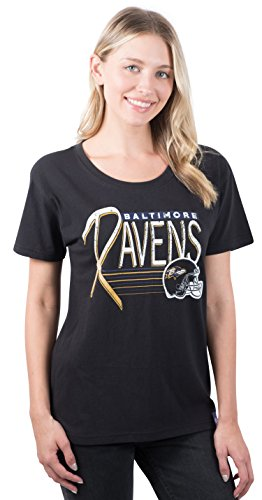 57187e28 ICER Brands NFL Baltimore Ravens Women's T-Shirt Scoop Neck Short Sleeve  Tee Shirt, Medium, Black